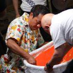 大蛇山制作現場に「きらり九州」の取材で寿一実さんと高田課長さんが!7月22日放送予定